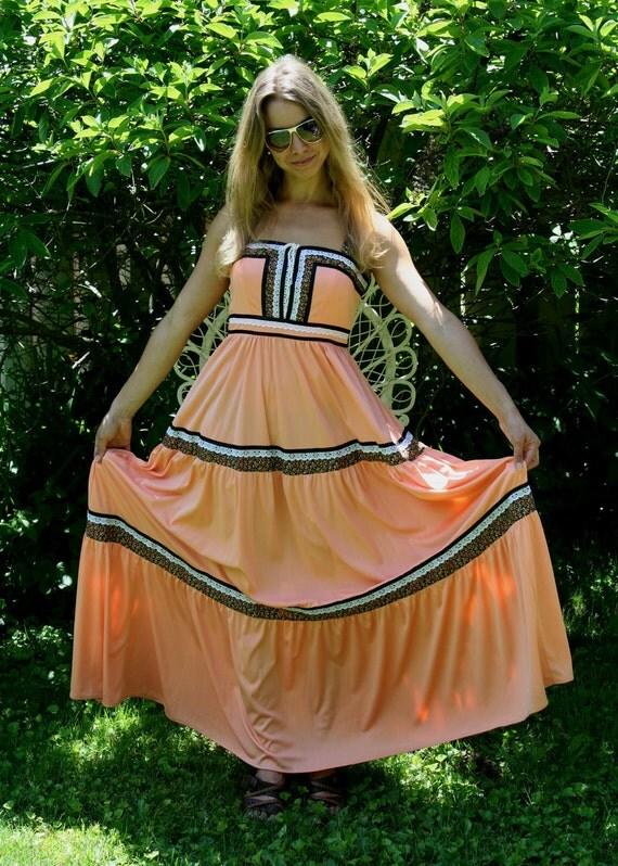 "Vintage maxi dress // 20 % discount enter coupon code ""BOXING2DAYSALE"" on checkout // Prairie Boho Hippie orange and black by Ronda Roy."