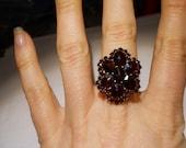 Victorian 14 KT Gold European Bohemian Garnet Ring  Size 6 1/2
