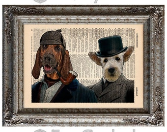 Sherlock Holmes and Watson Detective Dogs on Vintage Upcycled Dictionary Art Print Book Art Print Bloodhound Scottie Amazing Animalia