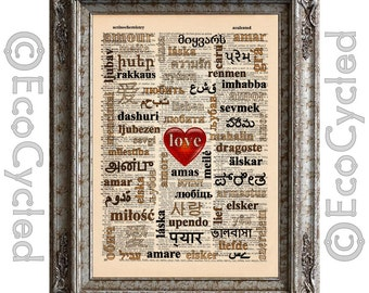 Love Amore 2 Color Subway Art Heart on Vintage Upcycled Dictionary Art Print Book Art Print Wedding Anniversary Typography bookworm gift