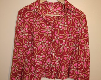 1970's Pink Long Sleeve Cropped Shirt