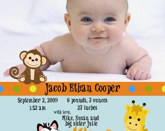 Jungle Jacob - Baby Boy Photo Birth Announcement - Digital File, You Print OR I Print