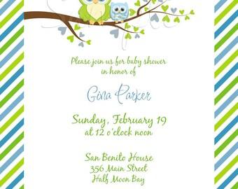 Gina Owl Baby Shower Invitation (BOY) - Digital File, You Print OR I Print