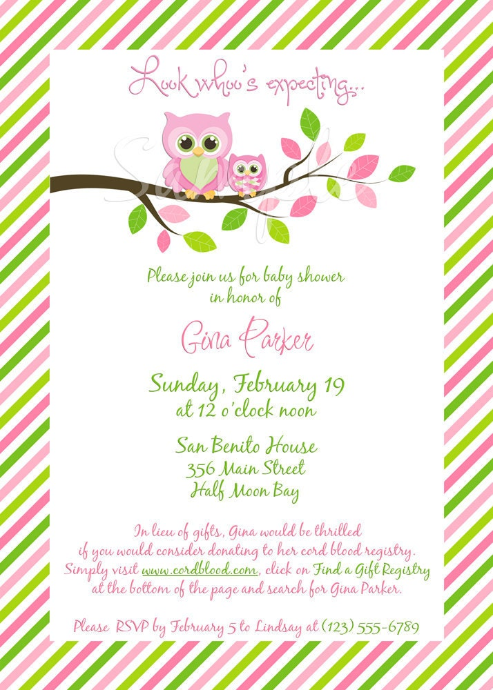 Gina Owl Baby Shower Invitation GIRL Digital File You