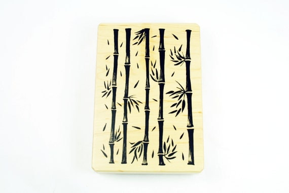 Large Bamboo Design Background Rubber Stamp: Wood Mounted Rubber Stamp Lucky Bamboo Inkadinkado