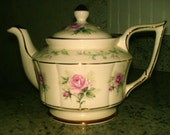 Vintage English Teapot by Arthur Wood, with Lovely Pink & Green Flowers and Amazing Gilt Trim