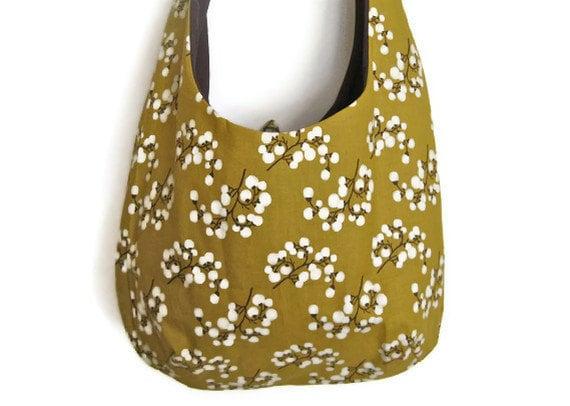 "Sling Purse flower hobo bag slouch shoulder market designer tote mustard plum flower berry ""Eloise"" MADE TO ORDER"