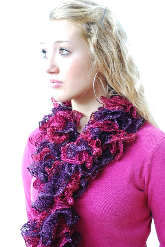 Fuchsia Pink, Wine & Plum Ruffled Scarf for VALENTINE GIFT- Hand Knit Lacy Romantic, For Woman or Teen, Birthday,  In Gorgeous Wine Colors