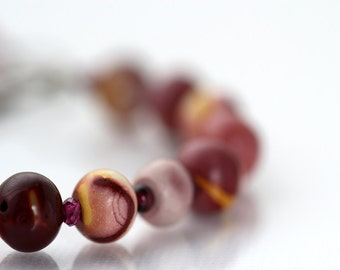 Bird Charm & Gemstone Bracelet - Mookaite, Garnet and Coral Jewelry in Brown Berry Shades - OOAK Jewelry