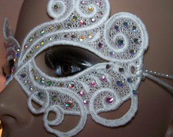 Princess Inspired Pure White Jeweled  Venice Lace Mask