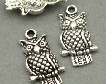 Owl Charms Antique Silver 6pcs pendant beads 11X20mm CM0078S