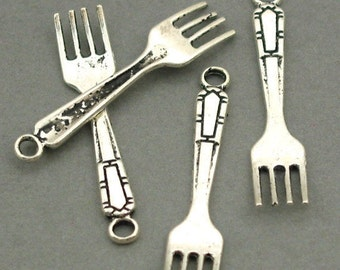 Fork 3D Charms Antique Silver 8pcs pendant beads 6X32mm CM0073S
