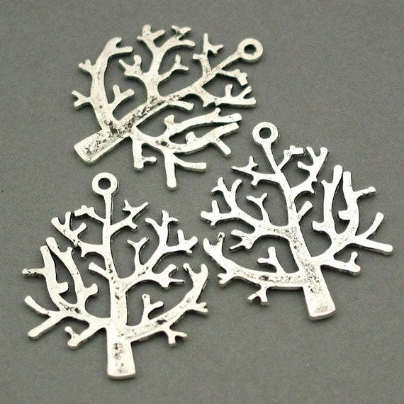 Tree Charms Antique Silver 6pcs pendant beads 26X32mm CM0061S