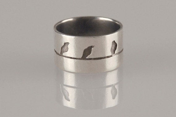 Birds on a wire Silver Ring , Size 7.5 Ring , Love Birds Jewelry , Handmade Ring Women Ring , Silver Bird Ring , Gift for Her