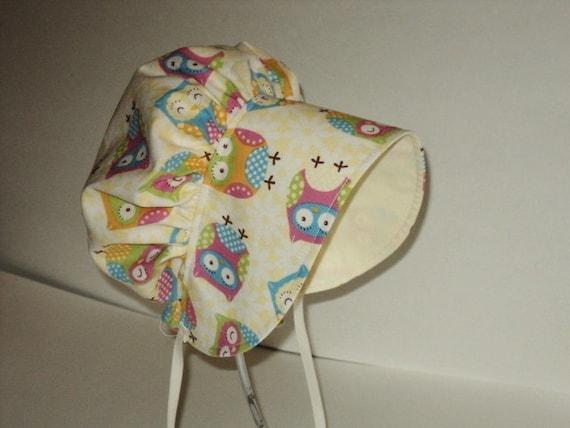 Owl Baby Bonnet - Sun Hat - Toddler Bonnet - Sun Bonnet - Cotton Bonnet - Made To Order Size Newborn To Size 2 - Sweet Owl Cotton Bonnet