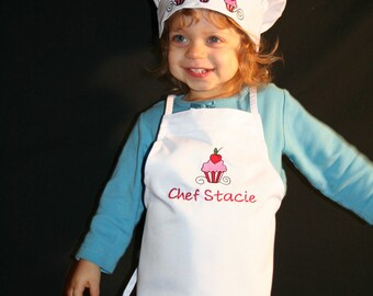 Personalized Cupcake Chef Apron and Hat Set, Children's Chef Hat, Children's Chef Apron, Children's Kitchen Set, Holiday Apron Set, Cupcakes