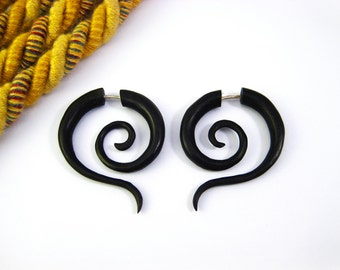 Fake Gauge Earrings Wood Tribal Spiral Earrings - FG014 DW G1