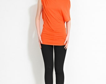 Orange Asymmetric Top-Jersey Top-Orange Jersey-Orange Top-Birthday Gift-Mothers Day Gift-Gift for Her-Present for Women-Holiday Gift