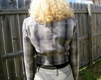 SALE Armani Jacket PLAID Armani Jeans Label Vintage Blue Grey Cotton Zipper Jacket Fab Fitted Military with Buckles