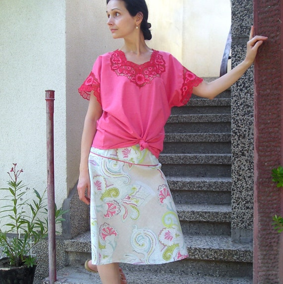 Vintage Cutwork Embroidery Blouse Size L-XL