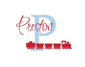 "Personalized Train Initial and Name Vinyl Wall Decal for Boy Baby Nursery or Boys Room 22""H x 36""W Wall Art"