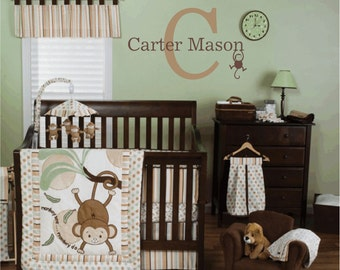 Monkey Wall Decal Personalized Name and Initial Vinyl Wall Decal Jungle Decal Monogram for Girl Boy Baby Nursery Safari Room FS070