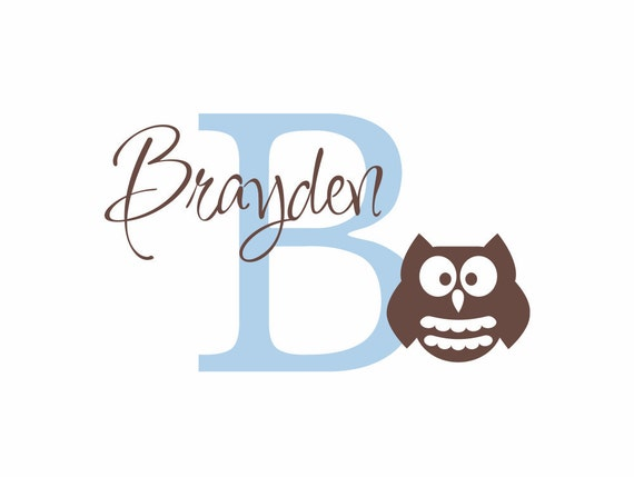 """Owl Wall Decal Initial and Name Custom Vinyl Wall Decal for Baby Nursery Boy or Girl Room 22""""H x 36""""W Wall Art FS094"""