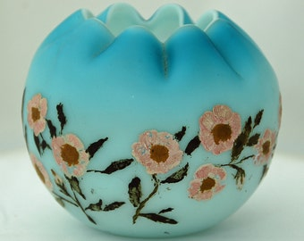 Antique SATIN GLASS BLUE Rose Bowl Shaded, Beautiful Hand Painted Roses, Ruffled Rim, Exc Condition, Ca Late 1800s