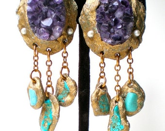 Amethyst- Raw Mineral- Crystal Earrings with Turquoise Drops- Statement Earrings-Wearable Art