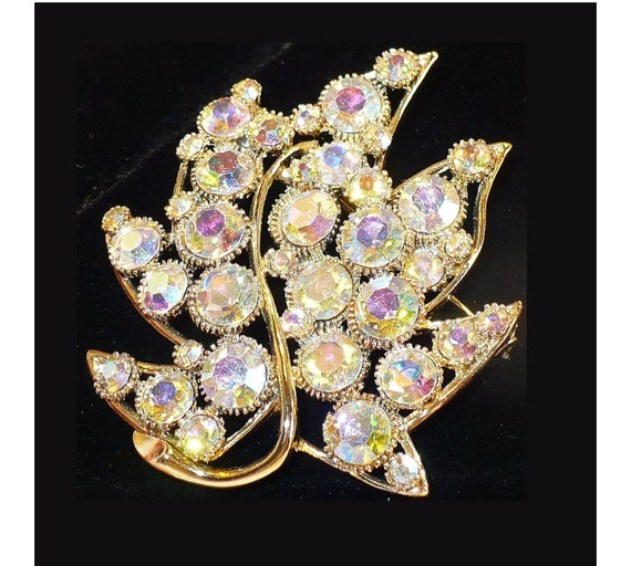 1960s BSK Brooch, Gold Aurora Borealis AB Rhinestones, Large Gold Leaf, Bridal Bouquet Mother of Bride Mother of Groom, Astronaut Wives Club