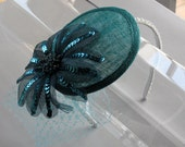 Teal Green Sequin Flower Sinamay Fascinator Hat with Veil and Pearl Band, for weddings, parties, special occasions