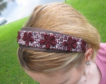 Multi color woven Headband with Burgundy Red Flowers