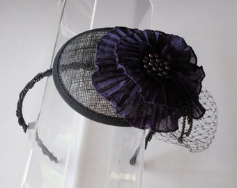 Plum Purple Chiffon Beaded Flower Black Sinamay Fascinator Hat with Veil and Beaded Headband, for weddings, parties, special occasions