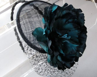 Green and Navy Blue Flower Sinamay Fascinator Hat with Veil and Black Beaded Headband, for weddings, bridesmaid, parties