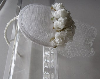 White Silk Flower Sinamay Fascinator Hat with Veil and Beaded Headband, for Bridal, weddings, parties, special occasions