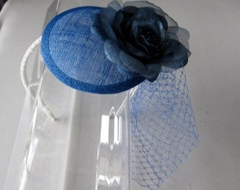 Royal Blue Flower Sinamay Fascinator Hat with Veil and Pearl Beaded Headband, for weddings, bridesmaid, parties, special occasions