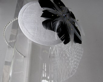 Black Feather Flower White Sinamay Fascinator Hat with Veil and Crystal Headband, for weddings, bridesmaid, parties, special occasions