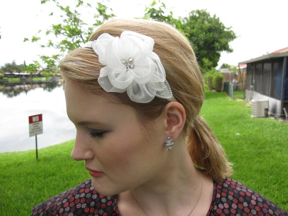 Organza White Flower Headband with Crystals and Pearl Leaves, for bridal, bridesmaid, wedding, party