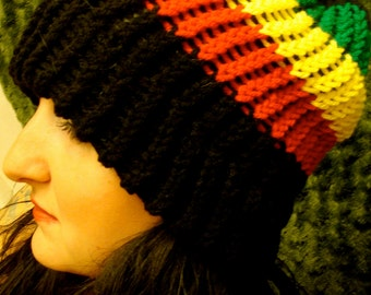 Rasta Color Knit Hat Black Red Yellow Gold Green Beanie Knitted Hat Marley :) Free U.S. Shipping