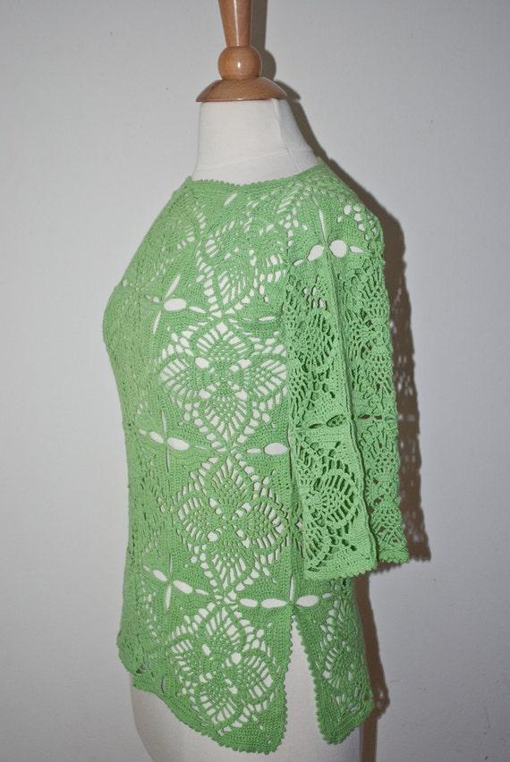 Green crochet tunic / blouse