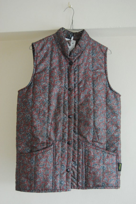 Vintage Paisley Gilet- L'avenir Equestrian Jacket - Body Warmer - Hunting Quilted