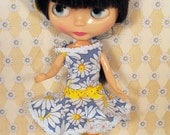 Blythe Doll Clothes - Daisy Summer Sundress - Dress & Hat Set - OOAK