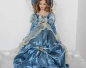 "21"" Beautiful Porcelain Doll in Blue Satin Dress. Cathay Depot Collection, Limited Edition. My name is Stella."