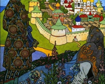 Fabulous Russian Art Print of Buyan Island and Fortress