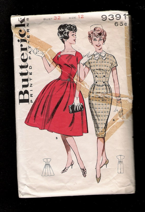 Vintage Late 50s Early 60s Butterick Pattern 9391 Rockabilly and Wiggle Dresses with Scalloped Waistlines