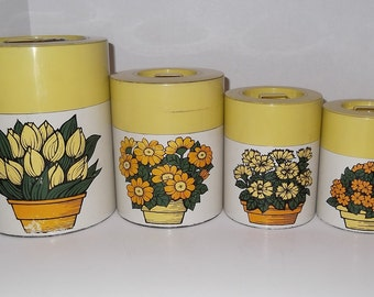 Vintage Canisters Hand Painted Metal Canister Set Of 4 Floral Design 1970's Kitchenware