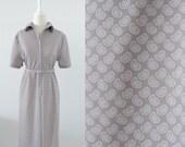 Vintage Mod Shift   Dress - 1960s Grey Paisley - Medium Large