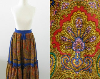 Jaipur Paisley Midi Skirt - Vintage 1970s Boho Chic Full Midi Skirt in Jewel Tones - Small by Vali