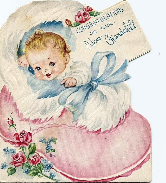 Welcome Home Baby Boy Quotes: Items Similar To Vintage Baby Cards Two 50s Greeting Cards