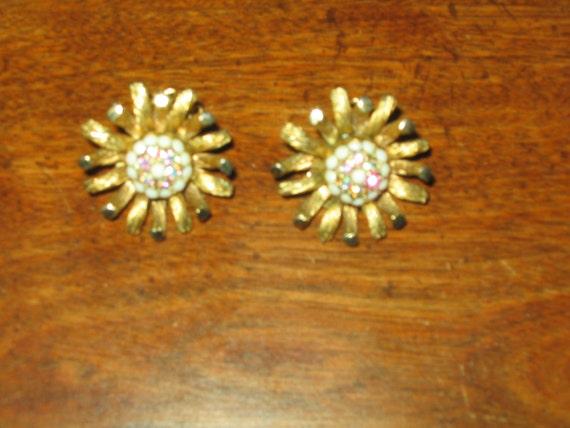 Har Crystal and White Rhinestone Flower Clip Earrings